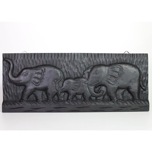 African Mid-Century Hand-Carved Elephant Wall Plaque on Ebonized Wood For Sale - Image 4 of 4