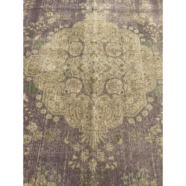 Large Antique Turkish Plum, Green, Beige Wool Rug - 9′5″ × 12′5″ For Sale - Image 4 of 13