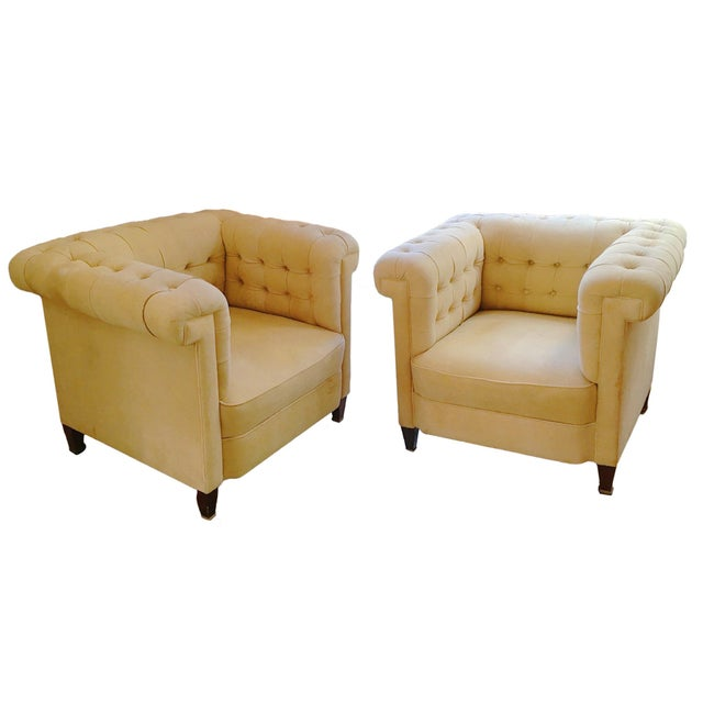 Mid-Century Modern 1920s Bauhaus Josef Hoffmann Style Leather Sofa & Club Chairs - Set of 3 For Sale - Image 3 of 4