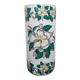 Vintage Late 20th Century Chinoserie Ceramic Orchid Umbrella Stand For Sale