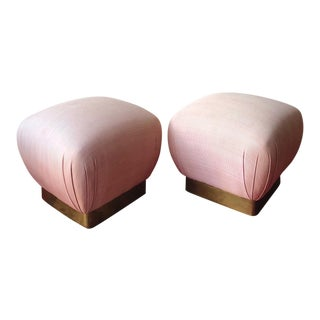 Karl Springer Style Regency Soufflé Pouf Ottomans - A Pair For Sale
