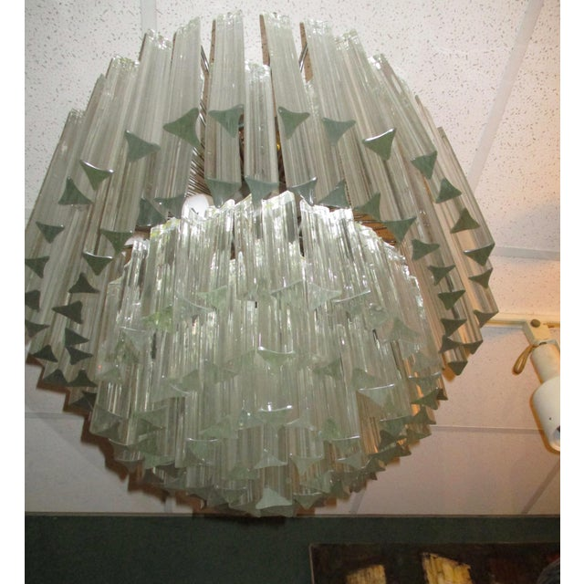 1960's Chrome and Crystal Drops Chandelier For Sale - Image 4 of 6