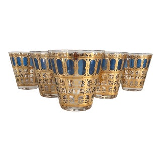 Mid-Century Modern Georges Briard Blue and 22k Gold Rocks Cocktail Glasses - Set of 7 For Sale