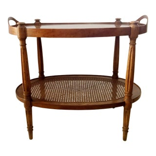 1970´s Drexel Heritage Oval Tea Table Bar Console With Cane For Sale