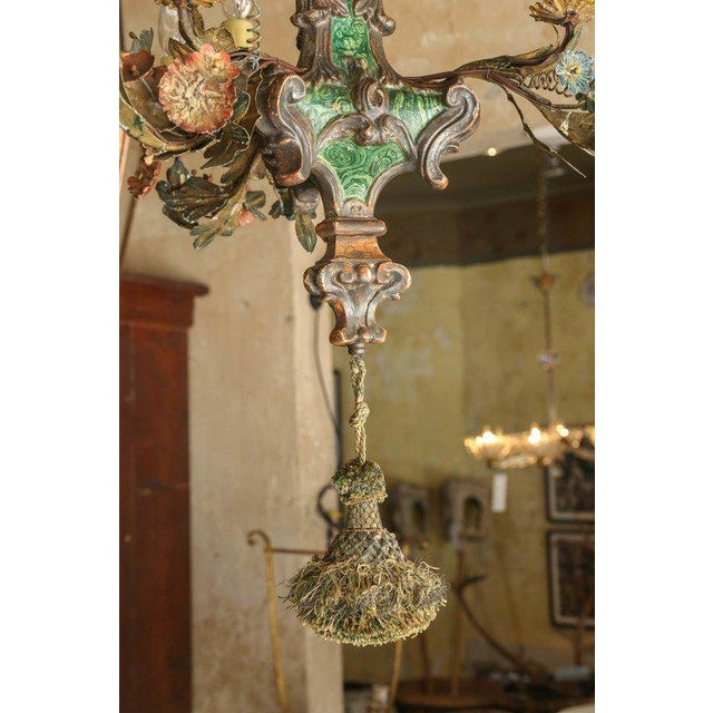 Early 19th Century Small Faux Malachite Chandelier For Sale - Image 5 of 7