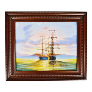 Vintage Framed Nautical Seascape Clipper Ship Oil Painting on Canvas by Ambrose For Sale