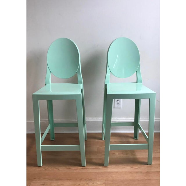 2010s Contemporary Philippe Starck for Kartell Mint Counter Stools - a Pair For Sale - Image 5 of 5