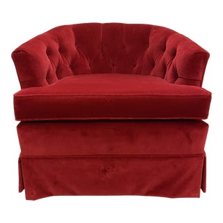 1960s Red Velvet Button Tucked Arm Chair For Sale