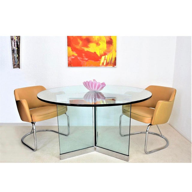 Modern Leon Rosen Classic Design Chrome Base Dining Table for Pace Collection For Sale - Image 3 of 8
