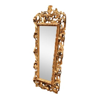 Mid-19th Century French Hand-Carved Parcel Gilt Mirror For Sale