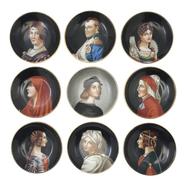 Hand-Painted Porcelain Portrait Plates by Richard Ginori - Set of 9 For Sale