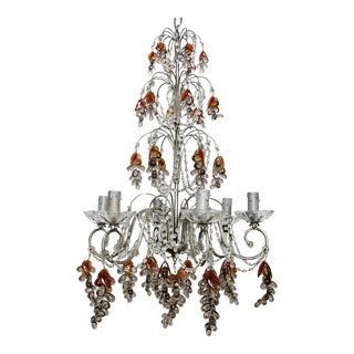 French Six Light Chandelier with Crystal Beads and Glass Grapes For Sale