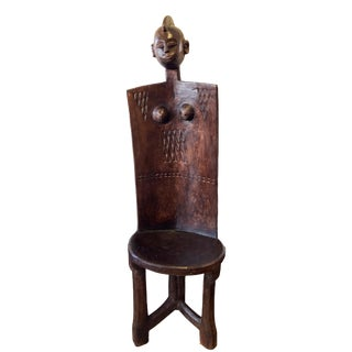 "Lg African Tanzanian 3-Legged Makonde Chair 57"" H For Sale"
