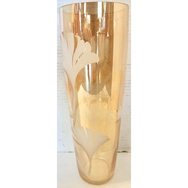 1980s Vintage Tall Glass Vase With Etching For Sale - Image 5 of 5
