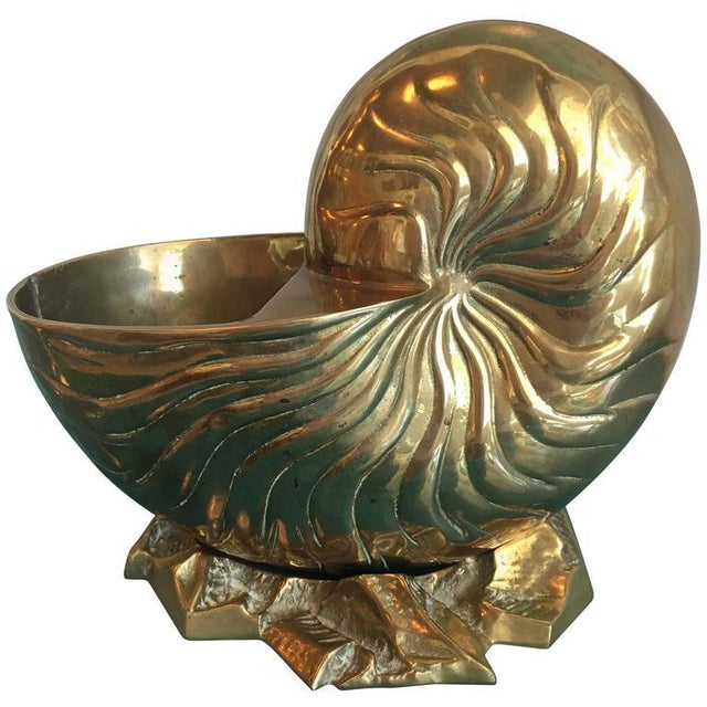 Metal Vintage Large Brass Nautilus Planter Seashell Shell Statue For Sale - Image 7 of 7