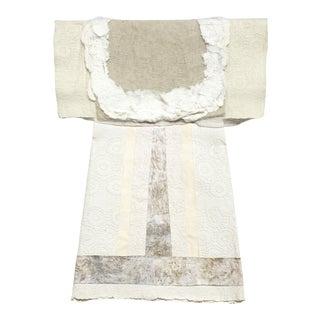 Unknown Hand Papermaking Embossed Cream Kimono Japanese Fiber Art 2000