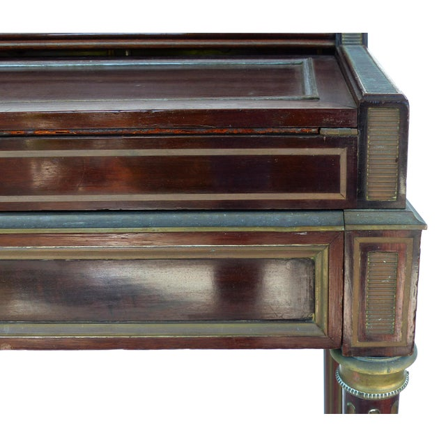Brown 19th Century French Paul Sormani Cylinder Writing Desk in Walnut For Sale - Image 8 of 13