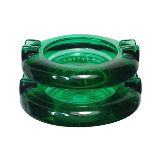 Emerald Glass Mini Ashtrays - Pair For Sale