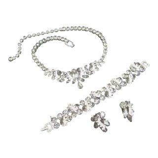 Weiss Smoky Gray Rhinestone Necklace - Bracelet - Earrings Set C 1960 For Sale