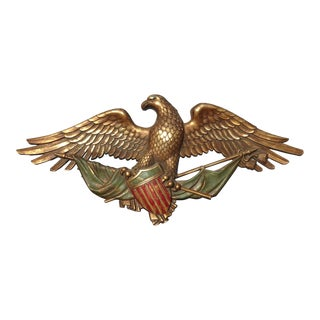 Vintage Federal Wall Mantle Eagle Picture Plaque W Shield For Sale