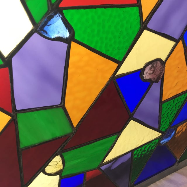 Abstract Square Rainbow Stained Glass For Sale - Image 3 of 7