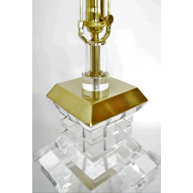 Karl Springer Charles Hollis Jones Style Mid-Century Modern Chunky Lucite & Brass Lamps MCM - a Pair - Image 9 of 11