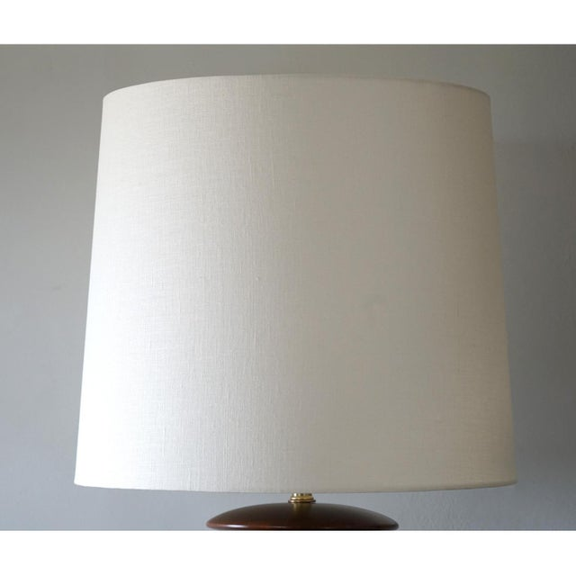 1960s 1960s Spun Walnut and Cork Table Lamp With Shade For Sale - Image 5 of 7