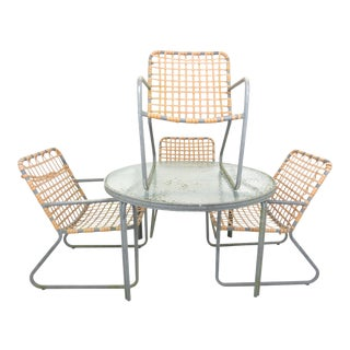 1960s Brown Jordan Lido Aluminum Patio Dining Set - 5 Pieces For Sale