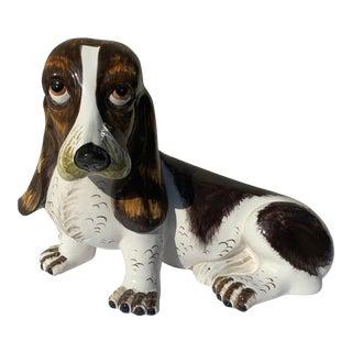 Mid Century Ceramic Basset Hound Figurine Dog Statue For Sale