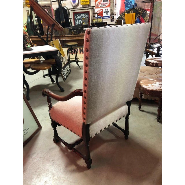 Late 19th Century Antique Wool Upholstered Arm Chair For Sale - Image 5 of 7