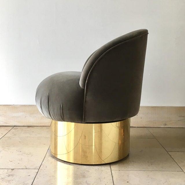 Pair of Brass Based Grey Velvet Tub Upholstered Swivel Chairs For Sale - Image 4 of 6