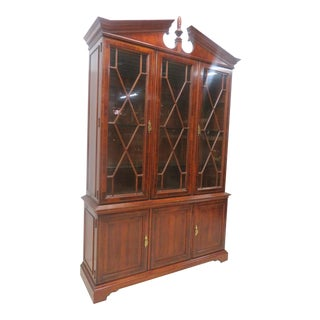 Fancher Chippendale Inlaid Mahogany Breakfront China Cabinet