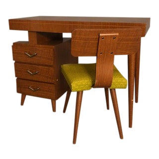 1960s Mid-Century Modern Walnut Writing Desk and Chair - 2 Pieces For Sale