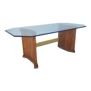 Late 20th Century Oak and Brass Pedestal Dining Table For Sale