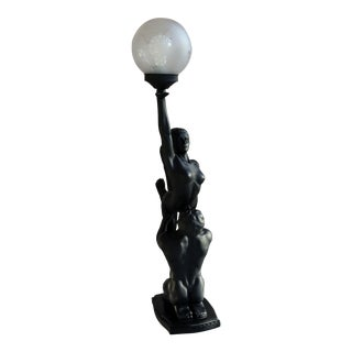 1960s Art Deco Style Nude Lady and Man Sculpture Table Lamp For Sale