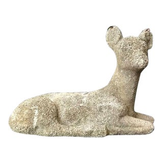 1930s Vintage French Navie Concrete Doe Statue For Sale