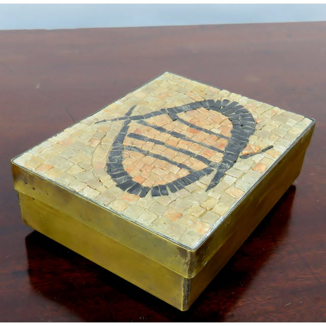 Vintage Brass & Mosaic Stone Box For Sale - Image 4 of 6