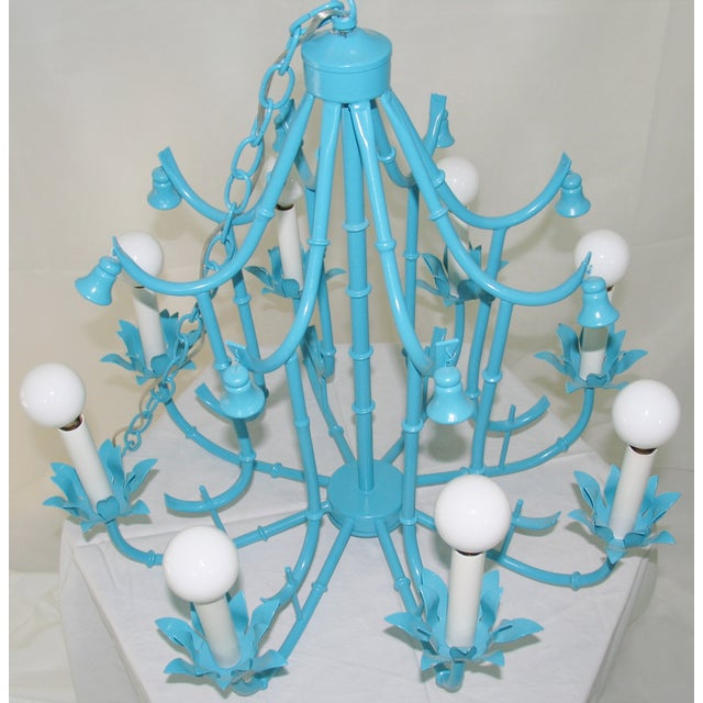 Turquoise Faux Bamboo Pagoda Chandelier - Image 3 of 7