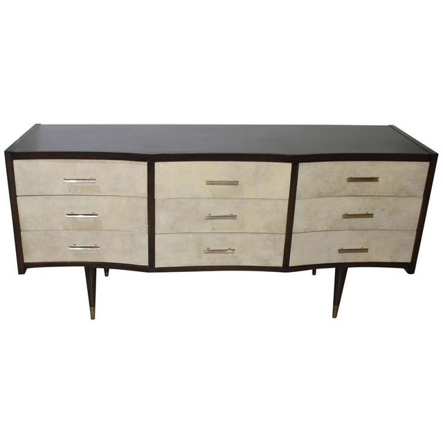 Gio Ponti Midcentury Style Chest of Drawers With Goatskin Parchment For Sale - Image 12 of 12