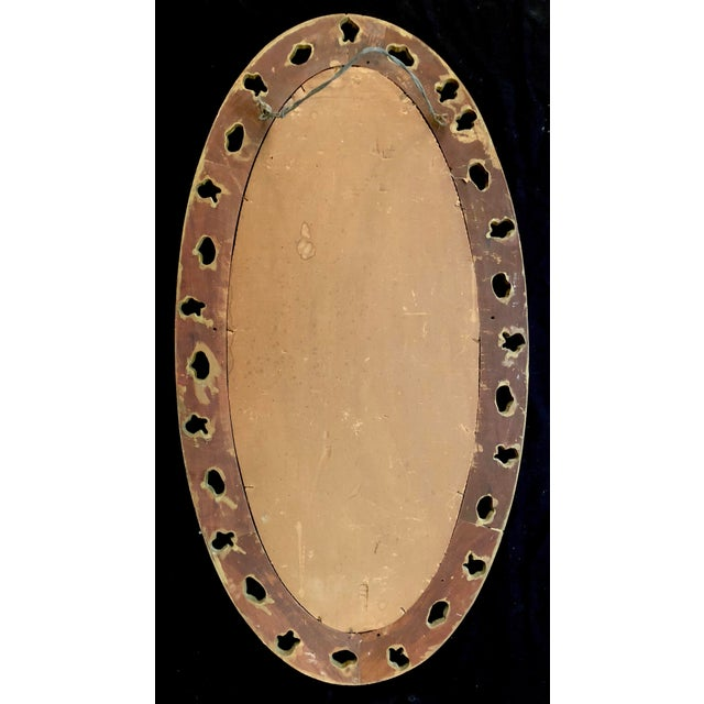 Gold 20th Century Italian Gilt Carved Wood Oval Beveled Wall Mirror For Sale - Image 8 of 10