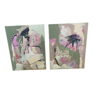 Modern Collage Paintings by Mary Kaiser - a Pair For Sale