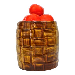 1940's Ceramic Tomato Basket Canister For Sale
