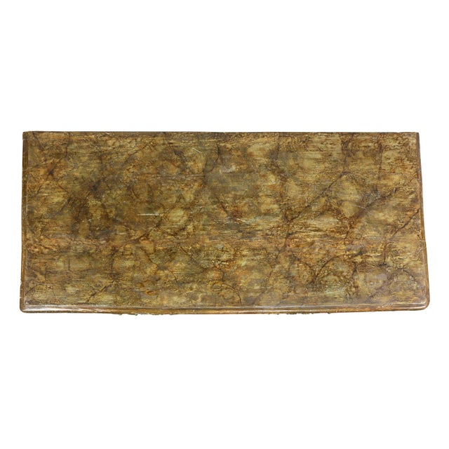 Rectangular faux marble top over three drawers dresser with floral decoration and cut paper birds, cast bronze handles,...