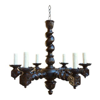 Antique French Country Carved Oak Barley Twist Chandelier Light Fixture For Sale