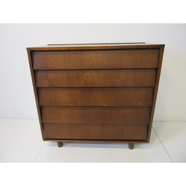 Brown Mid Century Walnut Slanted Front 5 Drawer Dresser For Sale - Image 8 of 9