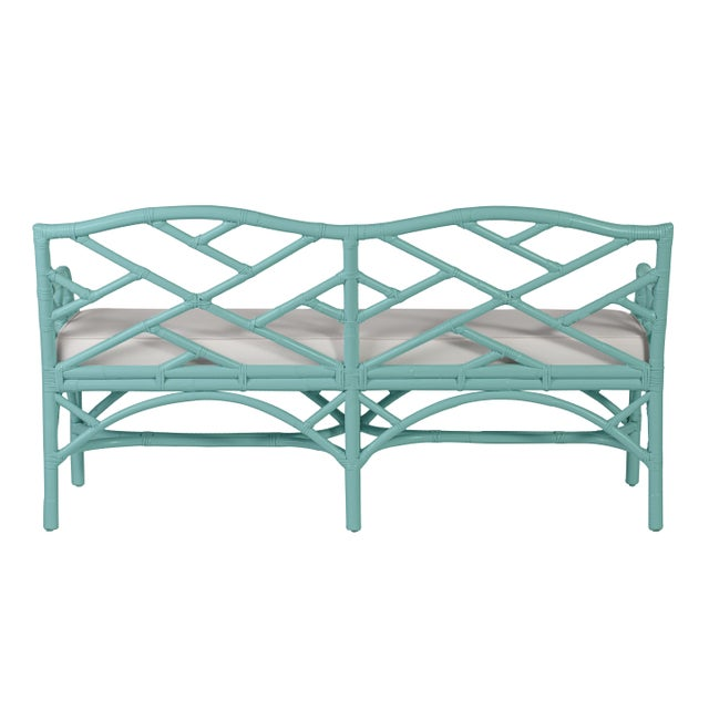 Chippendale Chippendale Bench - Turquoise For Sale - Image 3 of 6