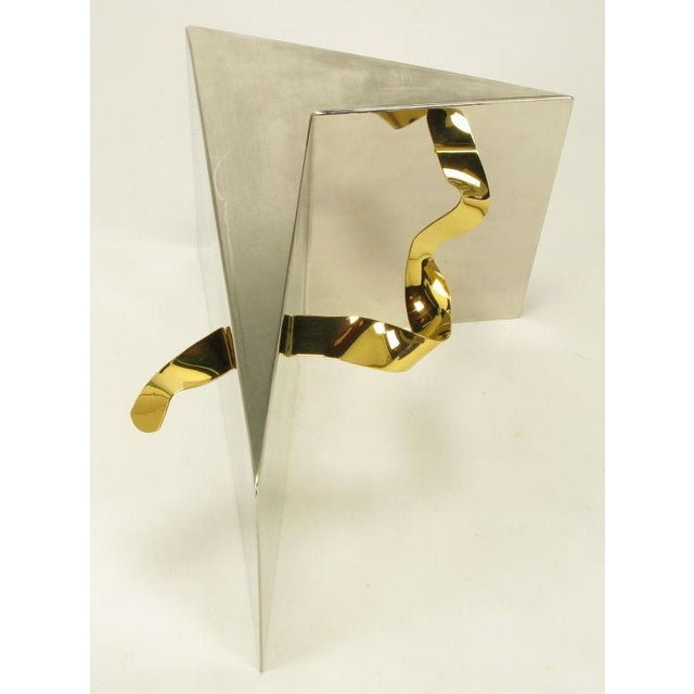 Custom Artisan Chrome, Brass, And Glass Coffee Table - Image 9 of 10
