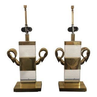 Vintage Karl Springer Style Brass and Lucite Ibex Head Table Lamps - a Pair