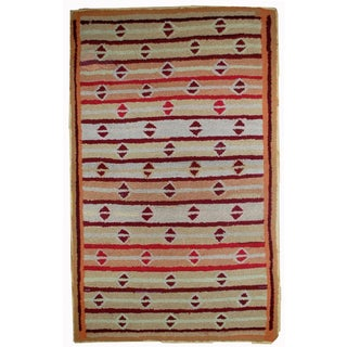 "1890s Hand Made Antique American Hooked Rug - 3'2"" X 5'3"" For Sale"