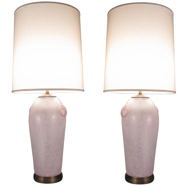 Glass Pair of Vintage Etruscan Glass Lamps by Chapman For Sale - Image 7 of 7